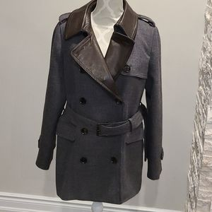 Coach Grey wool and brown leather pea coat
